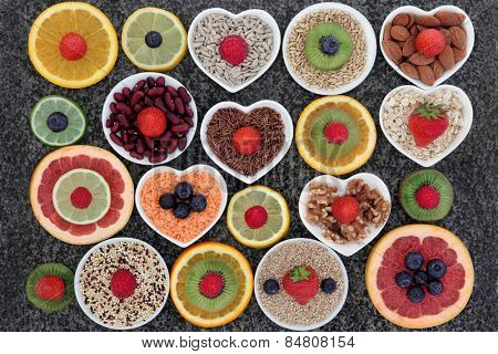 Superfood selection in abstract design over marble background.