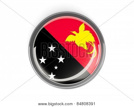 Round Button With Flag Of Papua New Guinea