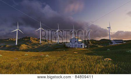 Wind turbines on a green field