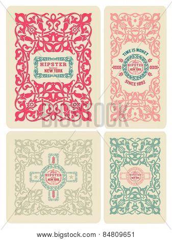 Retro card design set