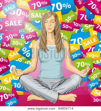 Vector woman meditating in lotus pose thinking about sale