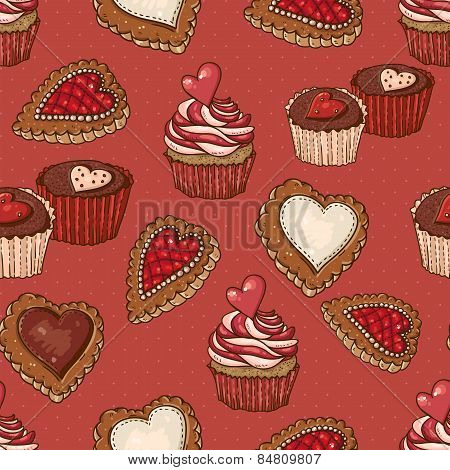 Seamless Background with Cookies and Cupcakes.