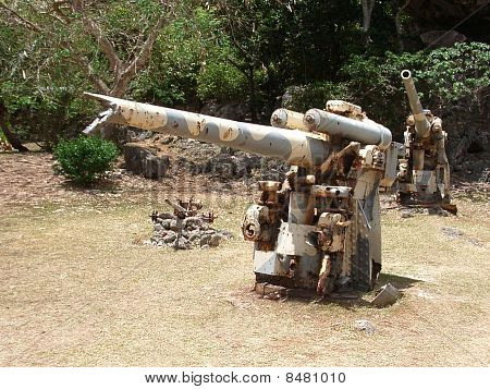 The cannon of base remains,World war