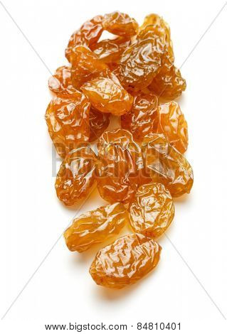 Yellow sultanas raisins isolated on white background cutout