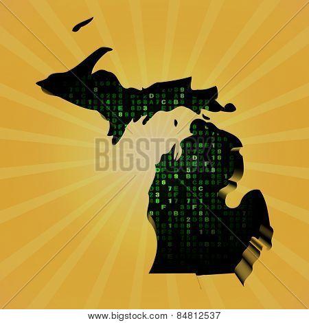 Michigan sunburst map with hex code illustration