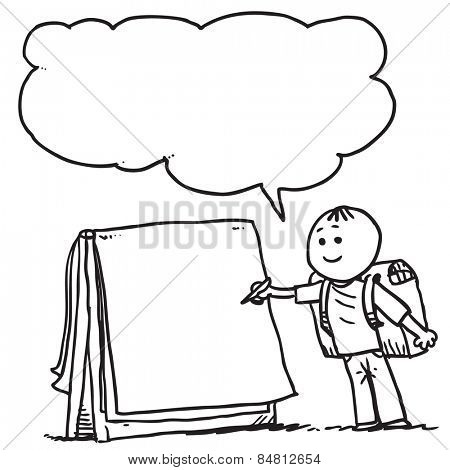 Schoolkid writing on flip chart and speaking