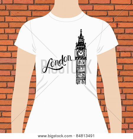 Simple London Shirt with Big Ben Tower Design