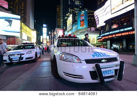 NYPD police car in Times Square, NYC