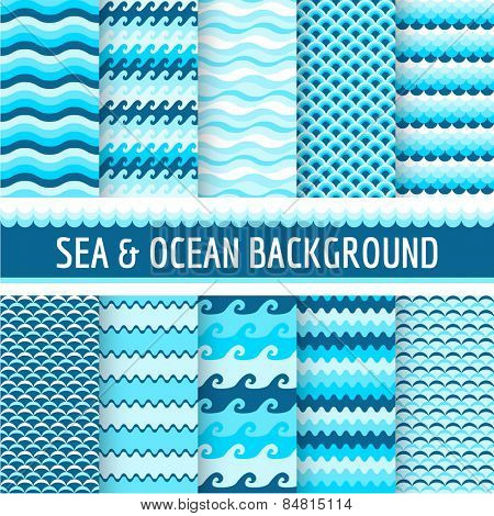 10 Seamless Patterns - Nautical Sea Theme - in vector