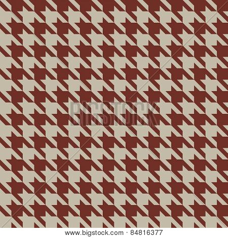 Seamless beige and red vintage houndstooth vector pattern.
