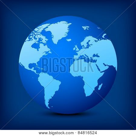 Vector Blue Globe Icon On Blue Background