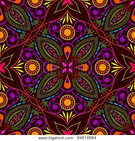 Abstract seamless colorful flower vector pattern.