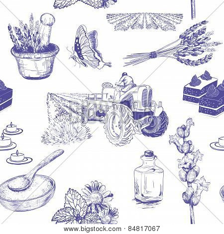seamless pattern with lavender flowers set