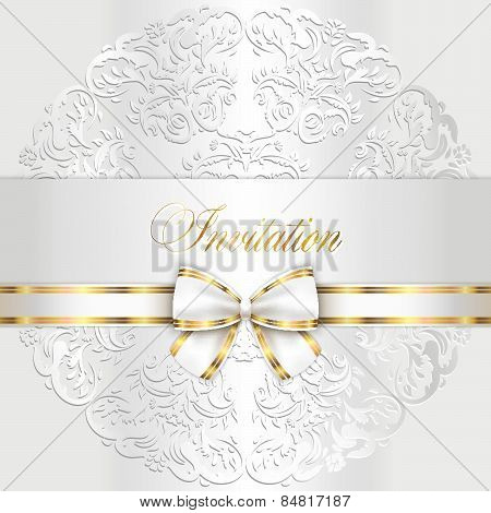 Luxury White Wedding Invitation With Rounded Lace