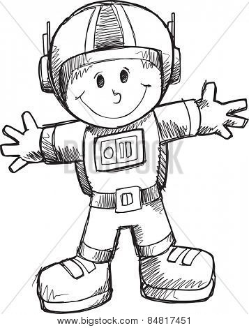 Doodle Sketch Astronaut  Illustration Art