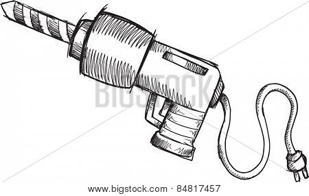 Doodle Sketch Power Drill Vector Illustration Art