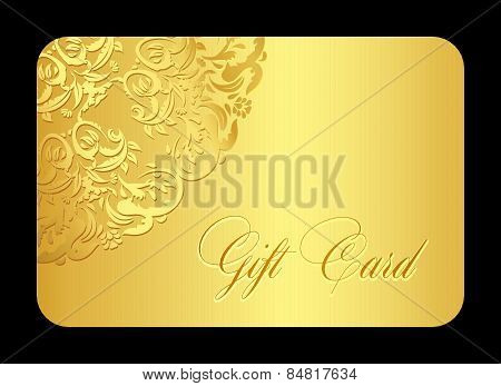 Luxury Golden Gift Card With Rounded Lace