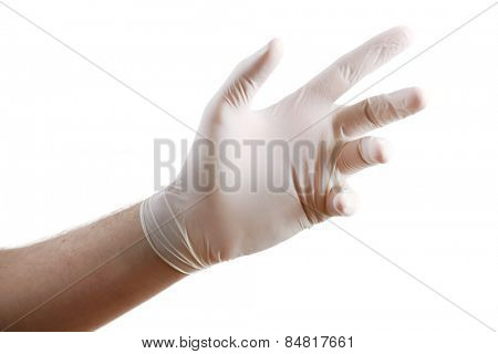 Doctor hand in sterile gloves showing sign, isolated on white background