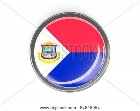 Round Button With Flag Of Sint Maarten