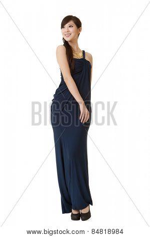 Elegant Asian beauty, full length portrait.