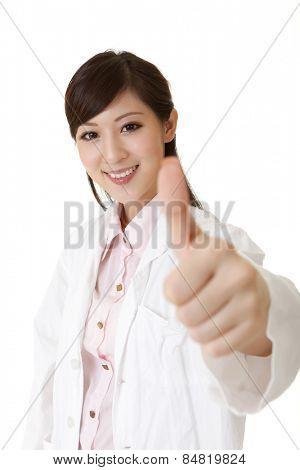 Asian doctor give you an excellent gesture, closeup portrait.