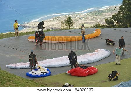 Paragliders get ready to fly, Reunion.