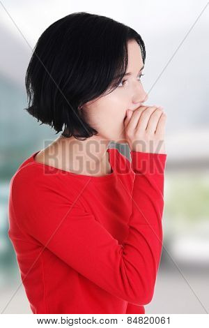 Beautiful woman whispering a message