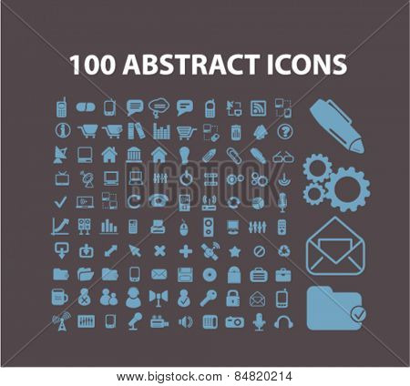 100 website, office, document, workplace isolated icons, signs, illustrations concept set on background. vector