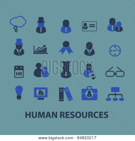 human resources, management, workplace isolated icons, signs, illustrations concept set on background. vector