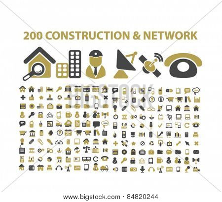 200 construction, network, communication isolated icons, signs, illustrations concept set on background. vector