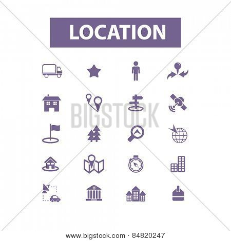 location, map, route isolated icons, signs, illustrations concept set on background. vector