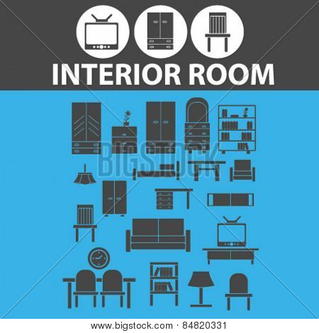 interior room, furniture isolated icons, signs, illustrations concept set on background. vector