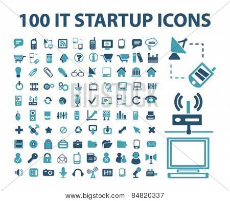 100 information technology, computer, communication, connection isolated icons, signs, illustrations concept set on background. vector