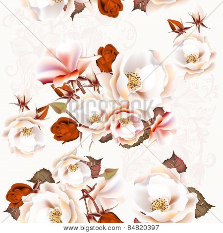 Floral Seamless Pattern With Roses In Vintage Style