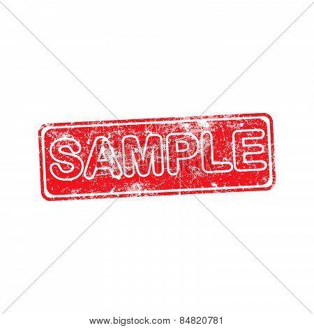 Sample Red Grunge Rubber Stamp Vector Illustration