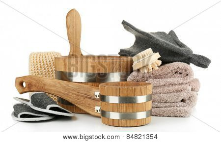 Accessories for sauna, isolated on white