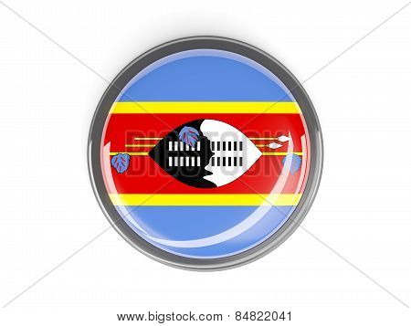 Round Button With Flag Of Swaziland