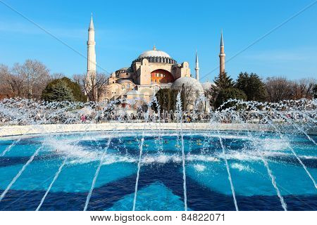 A Fountain In Front Hagia Sophia On A Sunny Day Which Is A Former Greek Orthodox Basilica And Later