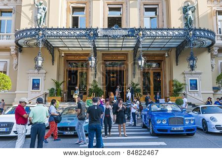 MONTE CARLO, MONACO - OCTOBER 3, 2014: Busy entrance to Monte Carlo Casino in Monaco