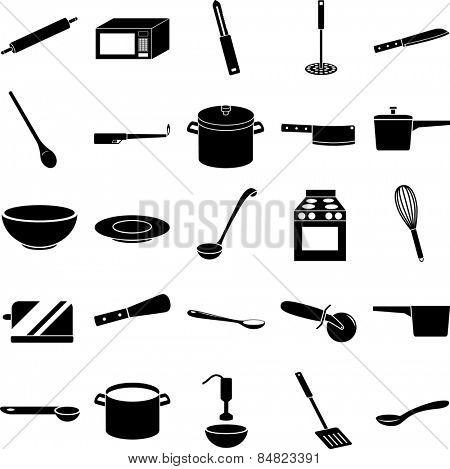 kitchen items symbols set