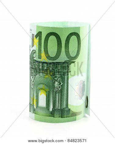 100 Euro Note Isolated Over A White Background