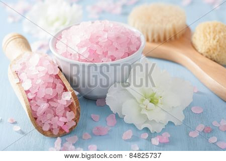 spa aromatherapy set with azalea flowers and herbal salt