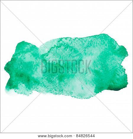 Green colorful abstract hand draw watercolour aquarelle art paint splatter stain on white background
