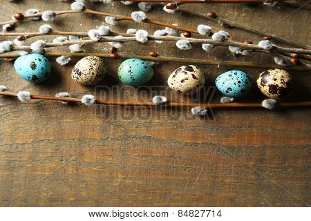 Bird eggs and pussy willow flowers branches on wooden background