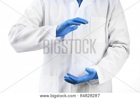 Doctor hands in medical gloves showing sign isolated on white background