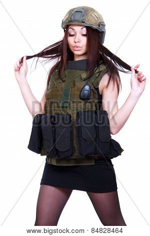 Woman In A Military Camouflage