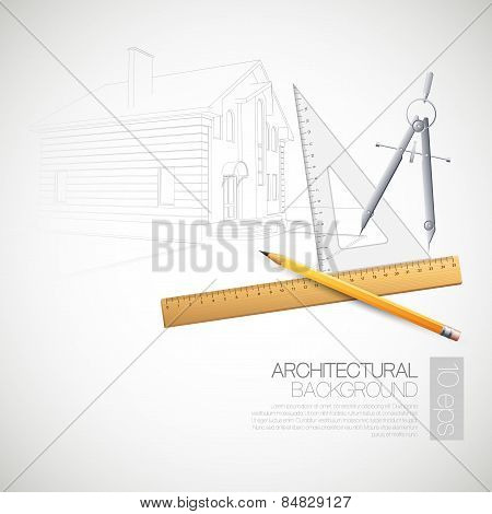 Vector illustration of the architectural  drawing tools