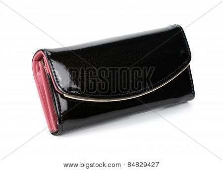 Women Black Wallet Isolated On White Background.