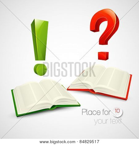 Vector illustration of books and characters or questions and exclamation mark