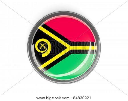 Round Button With Flag Of Vanuatu